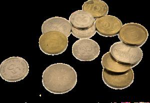 Verschiedene Münzen in Deutscher Mark und Pfennigen