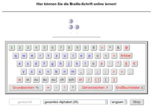Tastatur Braille Buchstabenerkennung