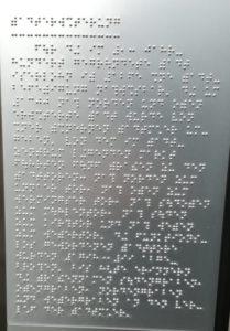 Erklärung in Braille zum Iserlohner Stadtbild