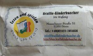 Adressaufkleber Braille Kinderbücher Iris Waßong